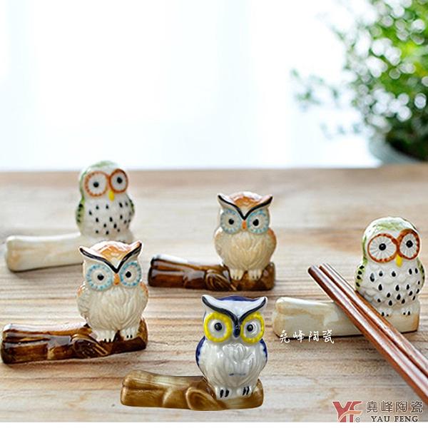 堯峰陶瓷 貓頭鷹筷架 三色一組|婚禮小物|筆架|裝飾架|筷架|貓頭鷹迷必備