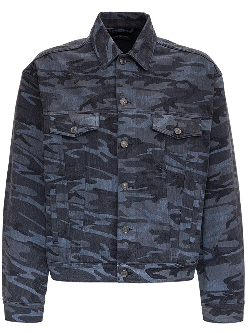 Balenciaga Gray Camouflage Denim Jacket