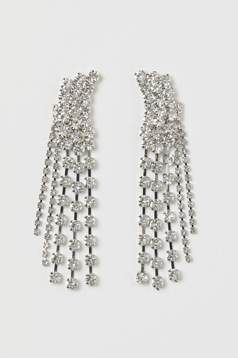 H & M - 水鑽耳環 - 銀色