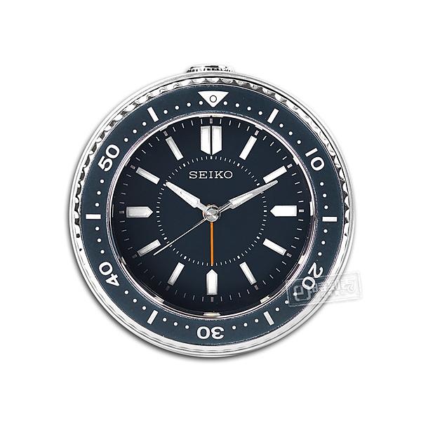SEIKO 精工 / 潛水錶造型 滑動式秒針 燈光照明 貪睡鬧鈴 指針靜音鬧鐘 - 藍色 #QHE184L