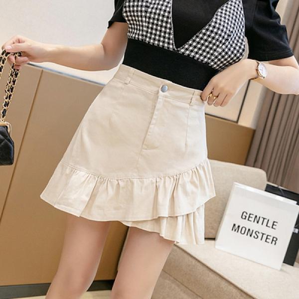 半身裙~荷葉邊白色牛仔半身裙2021新款不規則高腰a字包臀短裙魚N2F-A75-B胖妹大碼女裝