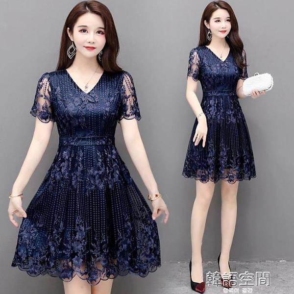 短袖洋裝 夏裝女連身裙2021新款夏季女裝蕾絲裙短袖禮服氣質時尚裙子蓬蓬裙