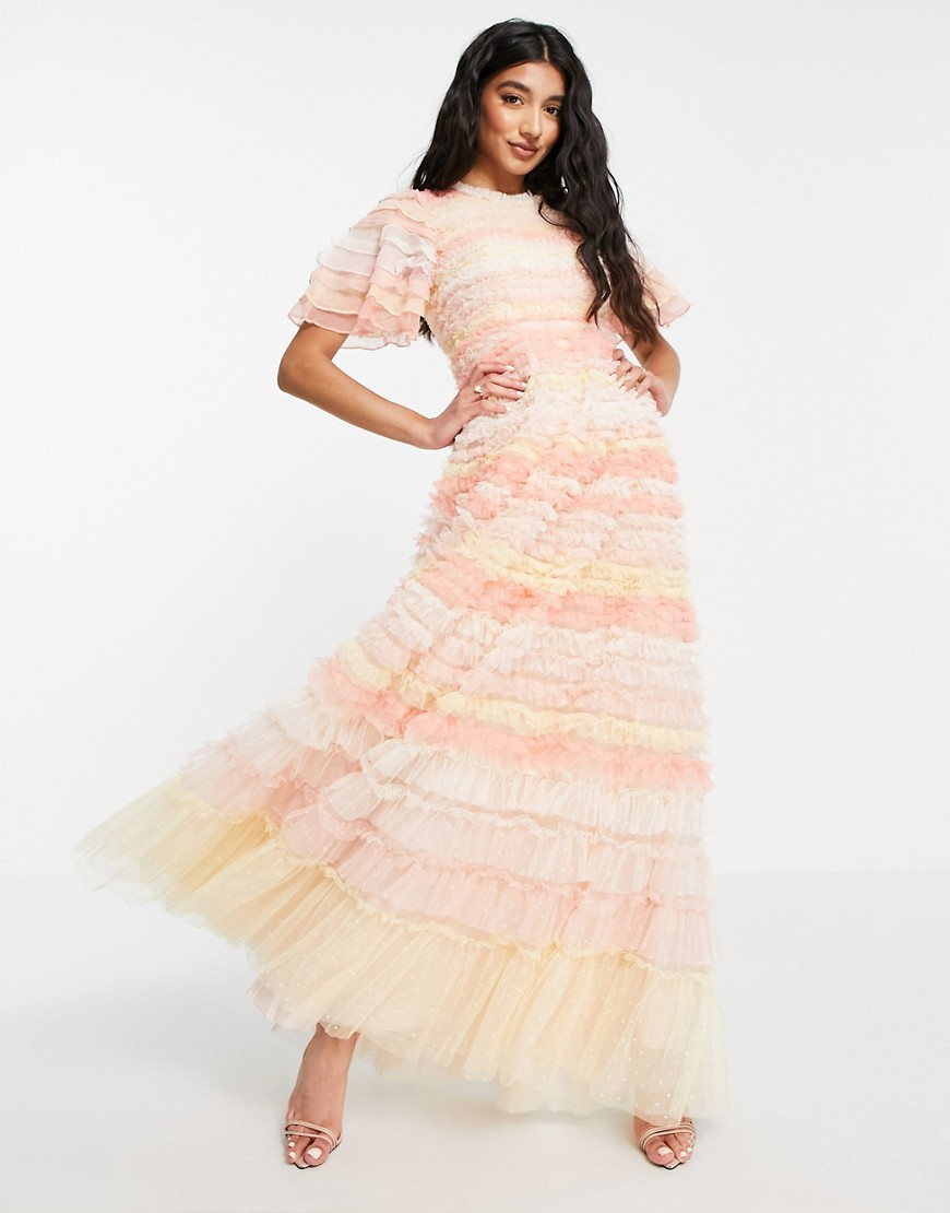 Needle & Thread Luella Ruffle maxi dress with ruffle stripes in pink