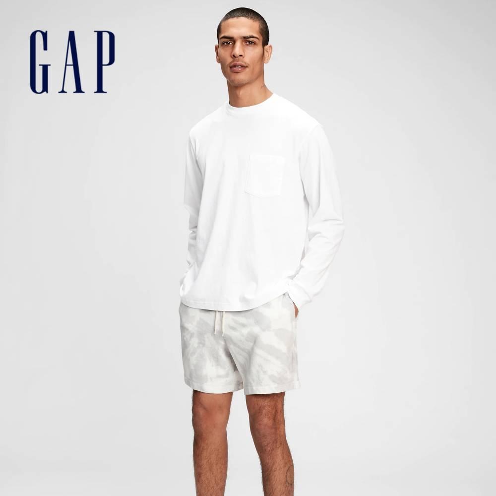Gap 男裝 街頭風紮染寬鬆運動短褲 684832-灰色紮染