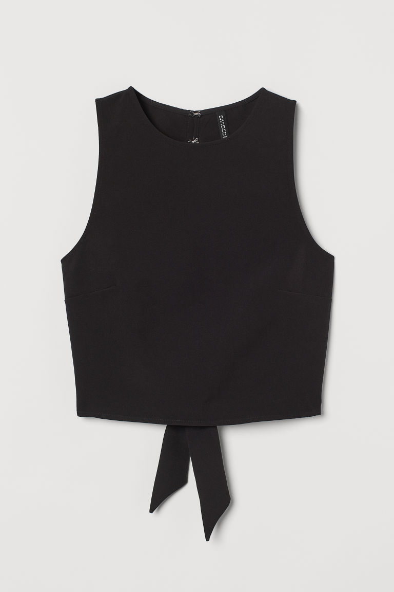 H & M - 露背上衣 - 黑色