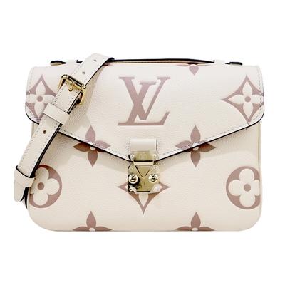 Louis Vuitton  Pochette Metis 經典LOGO花紋手提/斜背郵差包(米)