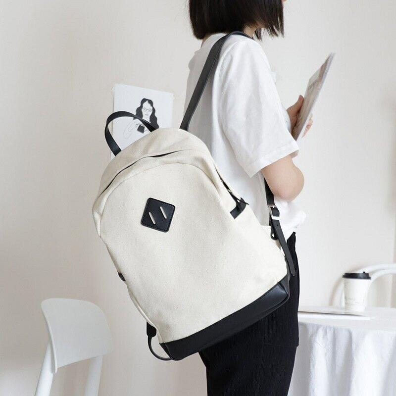 韓版學院風帆布雙肩包休閒潮流拼色學生女書包時尚通勤大容量揹包