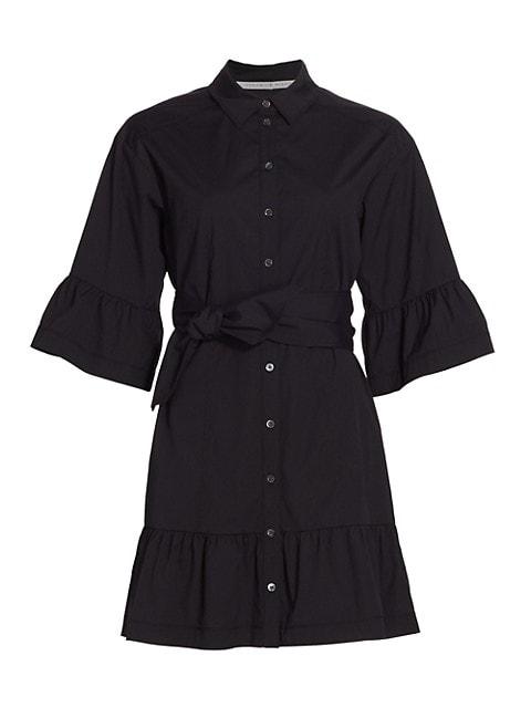 Luriane Flared-Cuff Belted Shirtdress