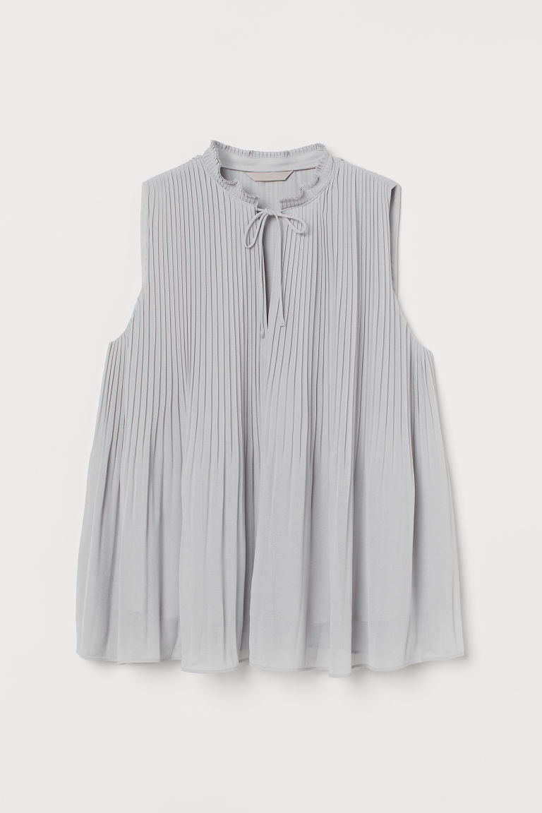 H & M - 百褶上衣 - 灰色