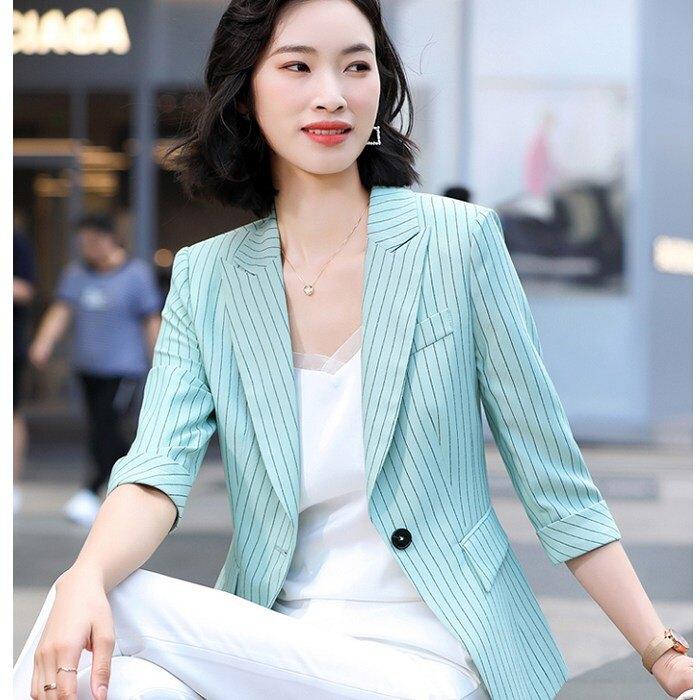 馬卡龍色條紋春夏搭配外套[21X053-PF]灰姑娘