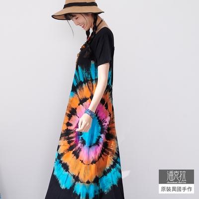 潘克拉 紮染彩色波紋純棉T恤連衣裙- 彩色