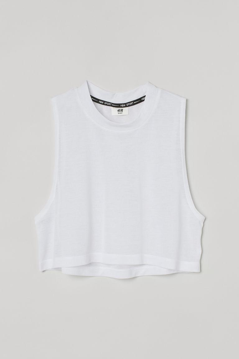 H & M - 短版運動上衣 - 白色