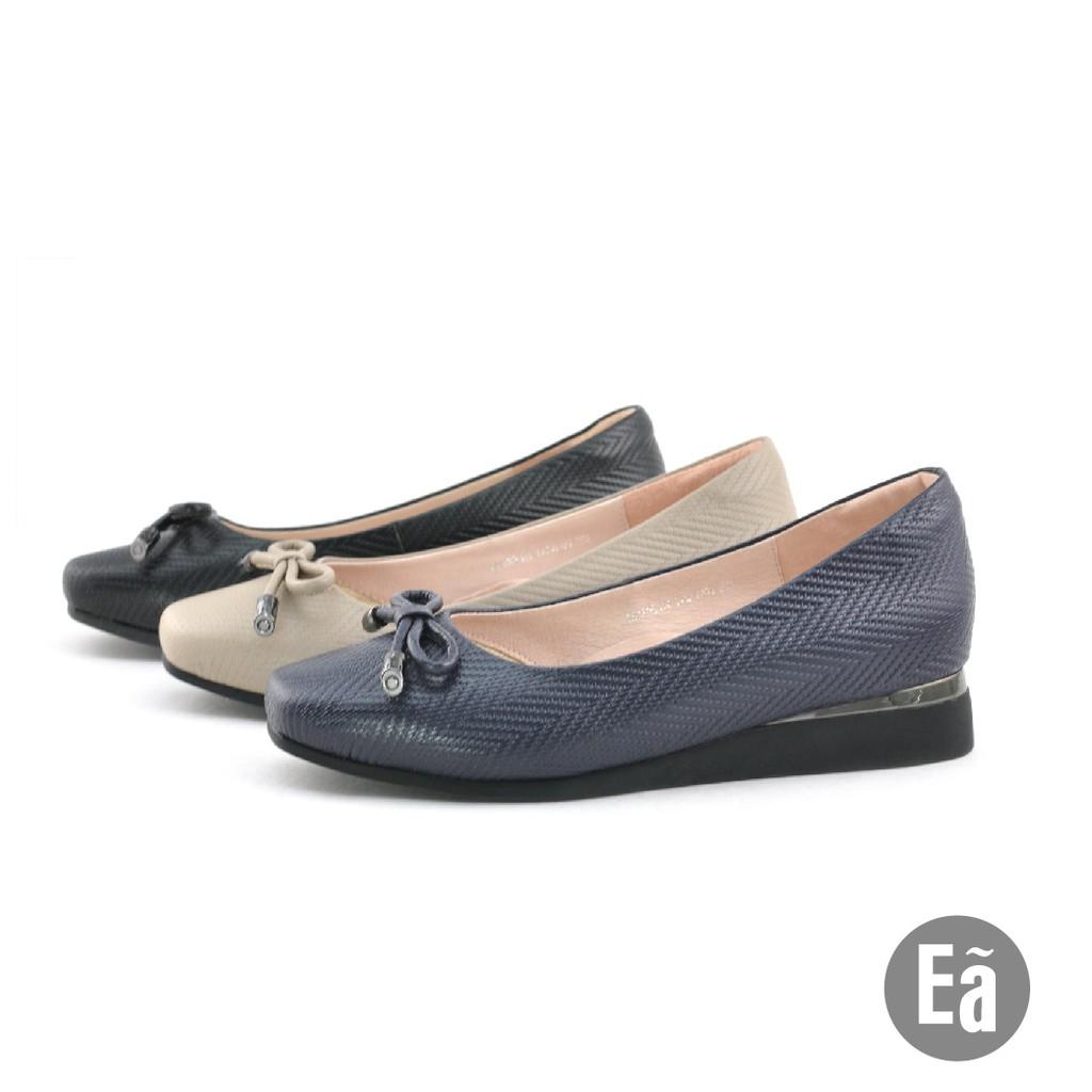 Ea專櫃女鞋 真皮 方頭 蝴蝶結 典雅麥穗紋 楔型鞋(海軍藍/氣質灰/皮革黑)