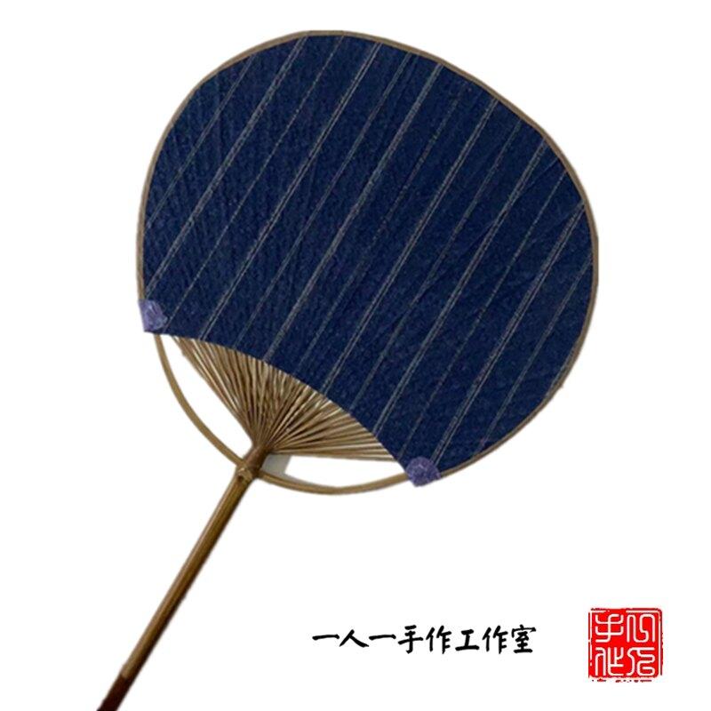 蒲扇 團扇扇子竹夏季棉麻布面古典蒲扇日式和風手工女宮扇圓形舞蹈小扇