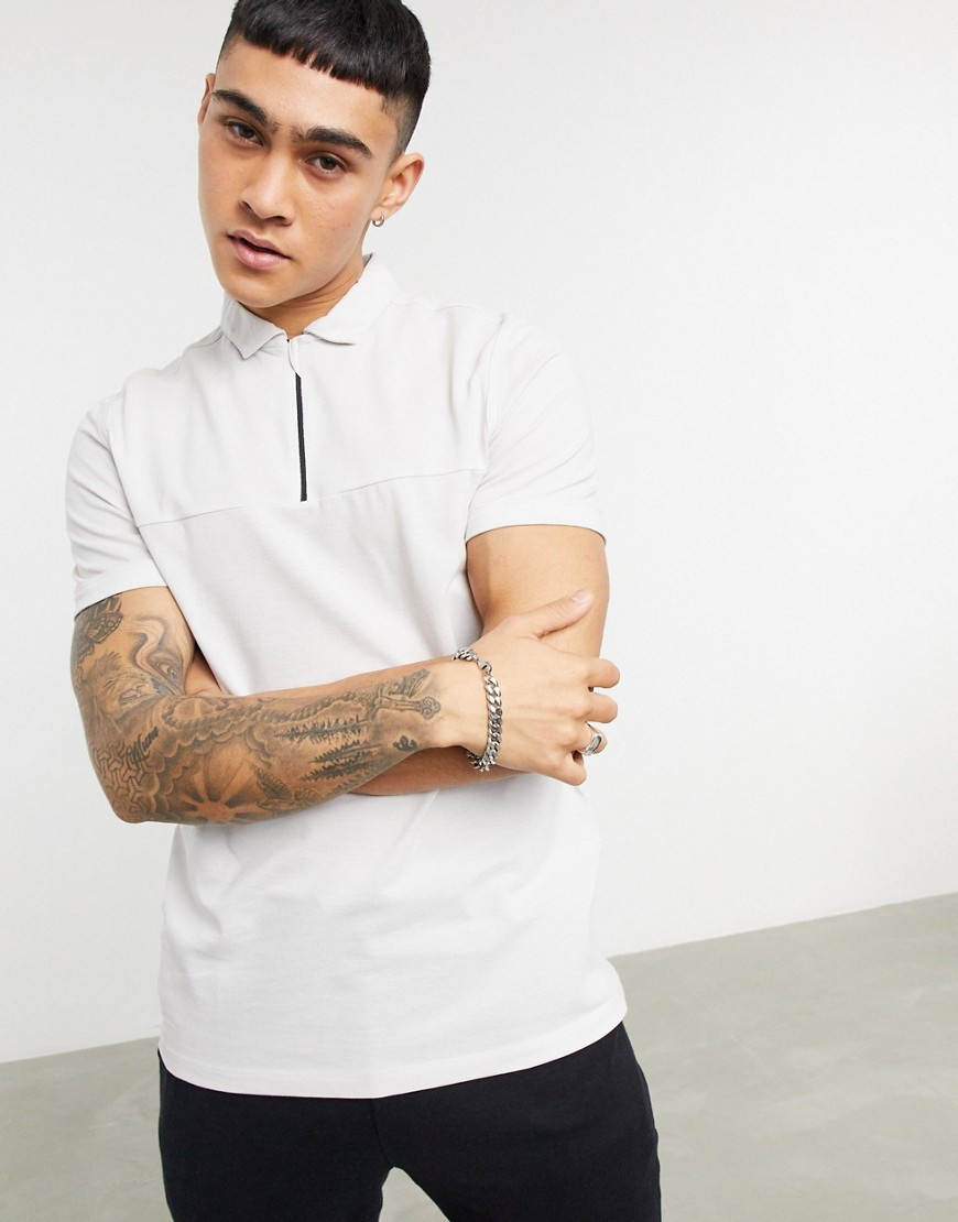 ASOS DESIGN organic cut and sew pique polo with zip in beige-Neutral