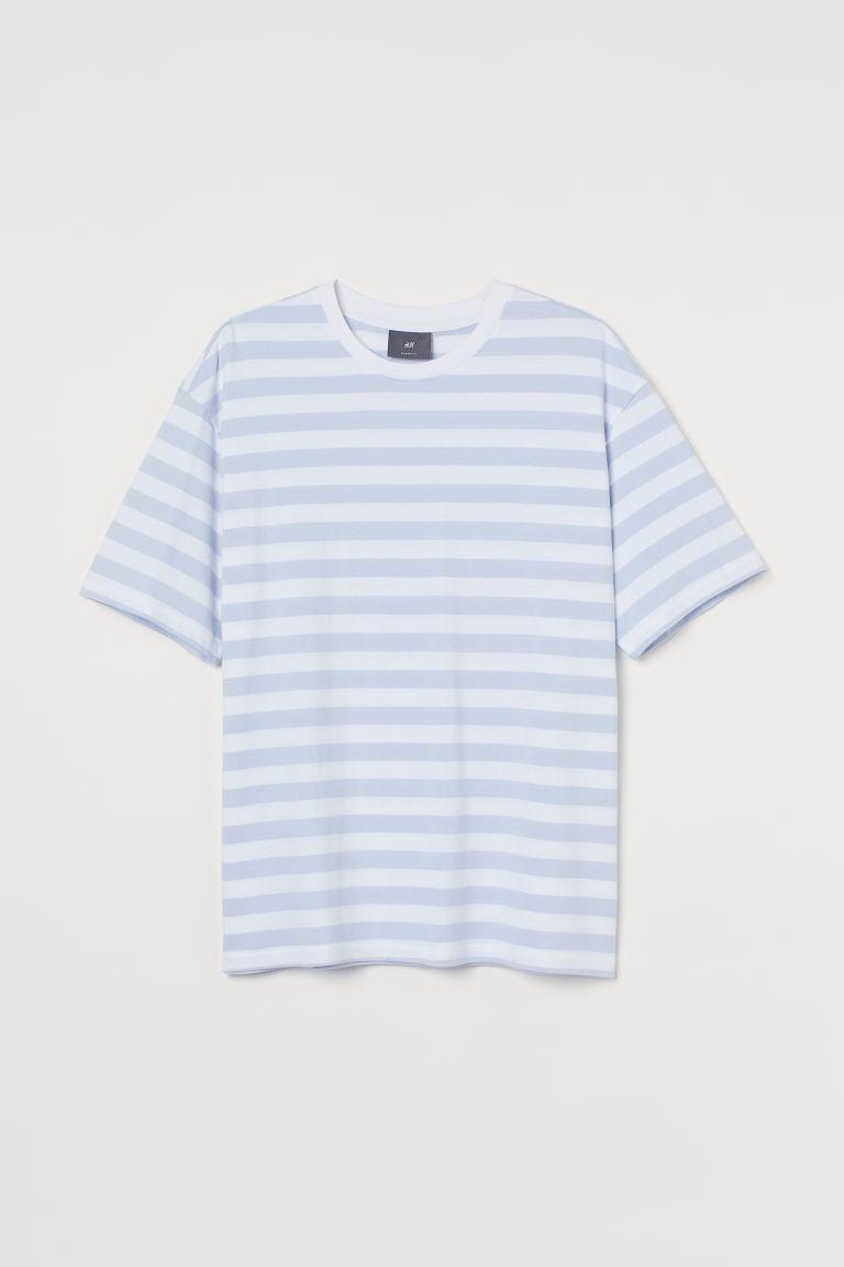 H & M - 休閒剪裁T恤 - 藍色