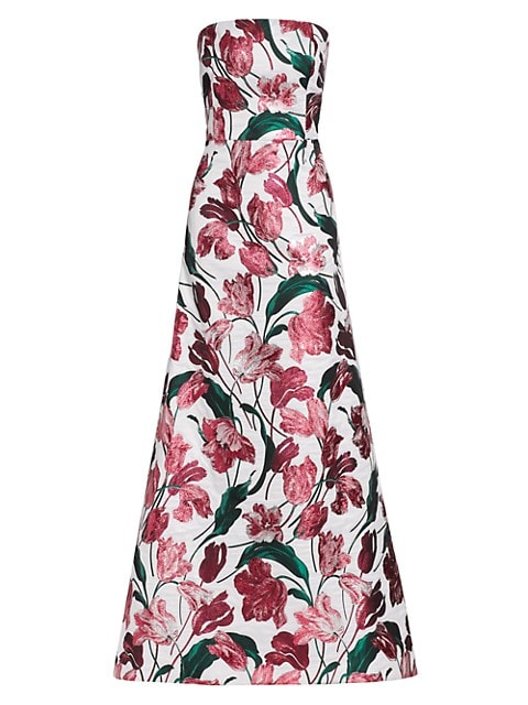 Floral Strapless A-Line Gown