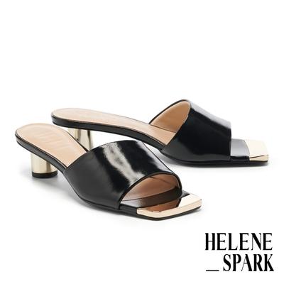 拖鞋 HELENE SPARK 現代經典摩登全羊皮方頭高跟拖鞋-黑