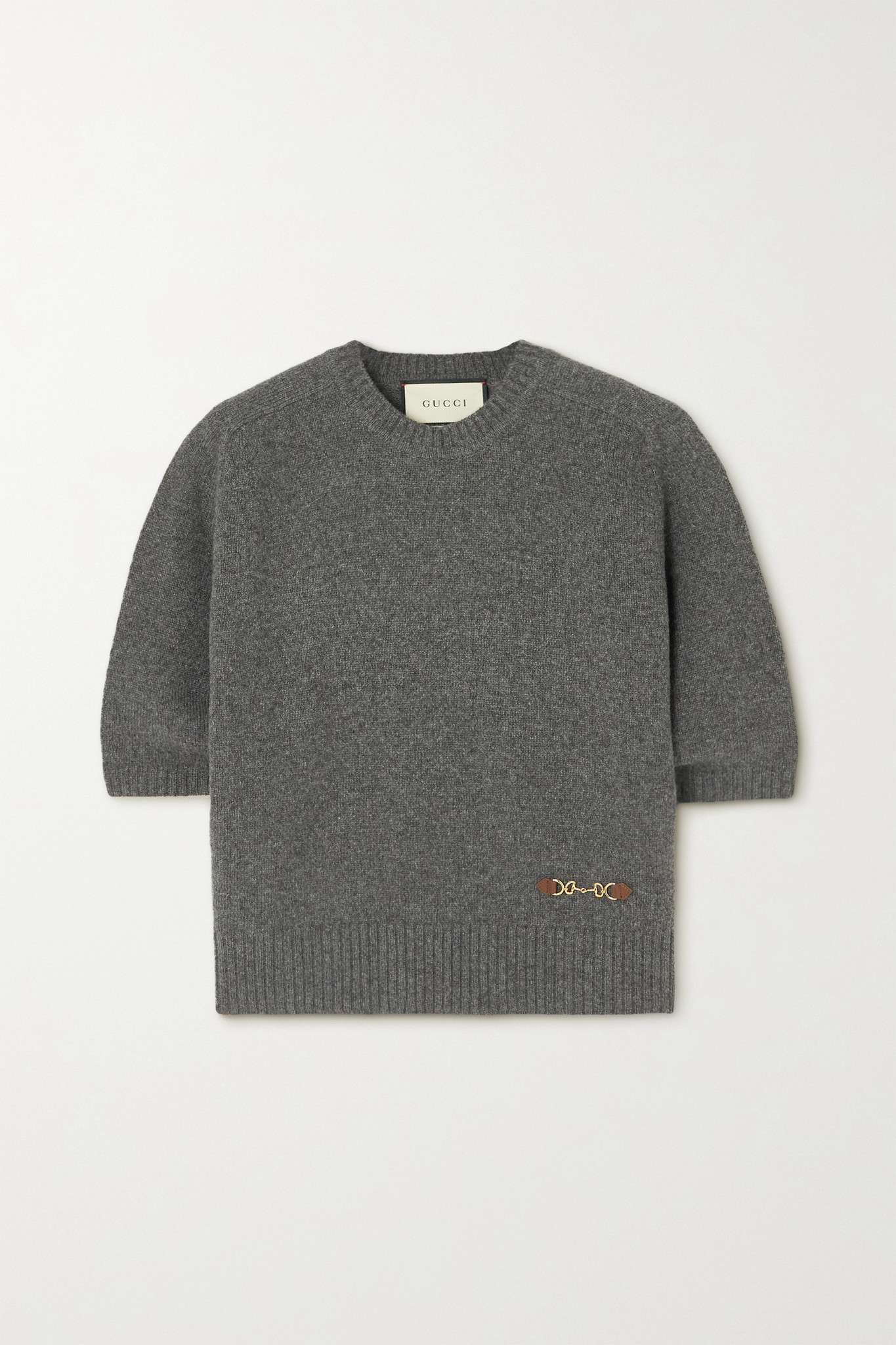 GUCCI - Horsebit-detailed Leather-trimmed Cashmere Sweater - Gray - small