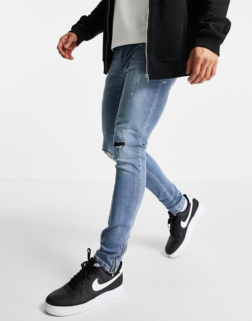Brave Soul skinny jeans with rip & repair in light blue