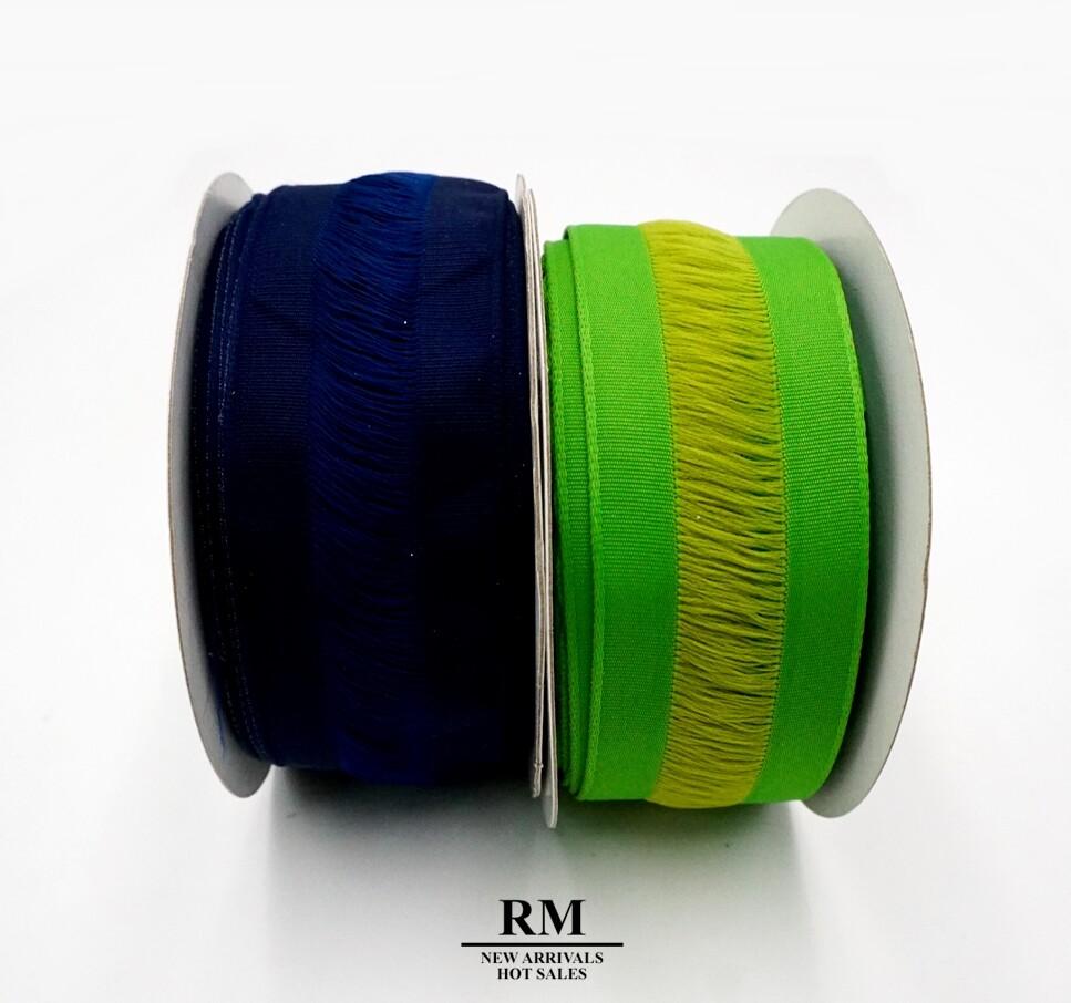 絕版品-特殊毛邊羅紋織帶 -35mm  深藍色 草綠色
