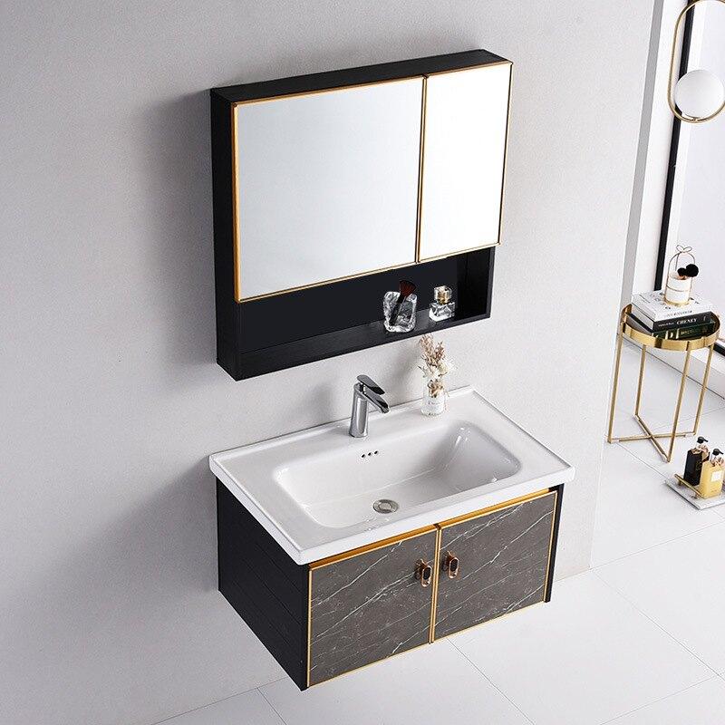 太空鋁浴室柜組合衛生間現代簡約洗手盆洗臉盆吊柜洗漱臺掛墻式【艾莎嚴選】