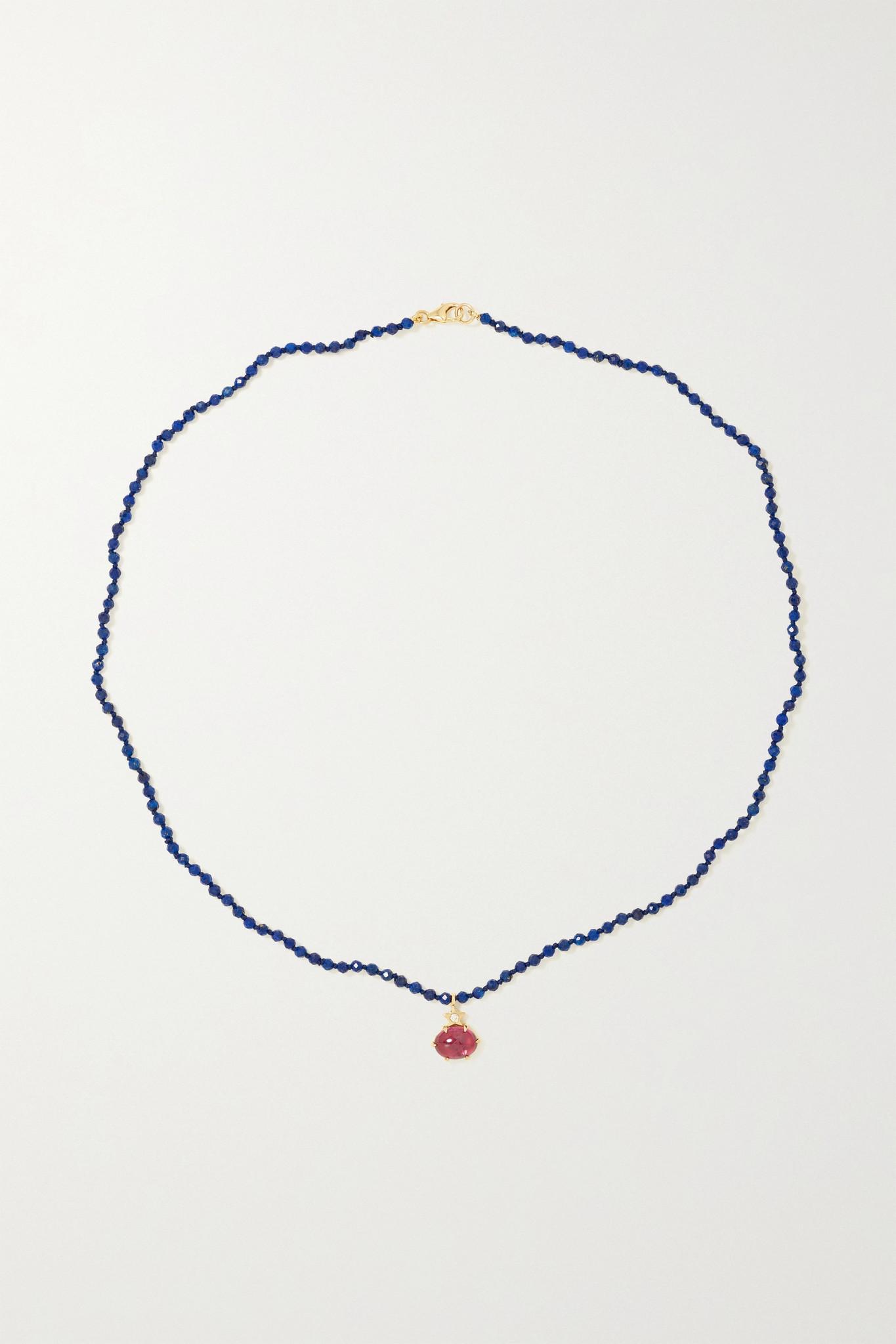 ANDREA FOHRMAN - Mini Cosmo 14-karat Gold Multi-stone Necklace - one size