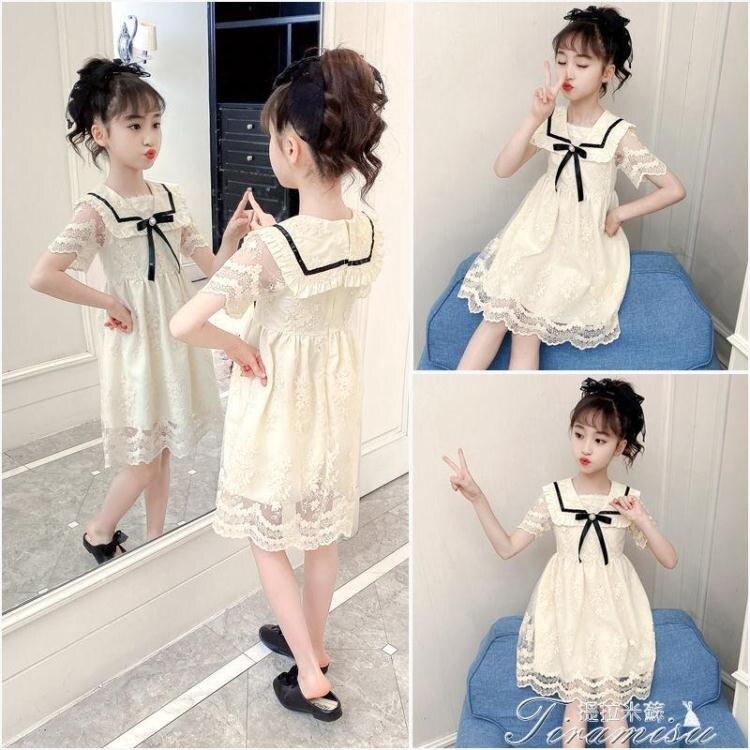 女童洋裝 女童連衣裙夏裝2021新款洋氣女孩蕾絲公主裙夏季兒童裙子童裝夏款 快速出貨