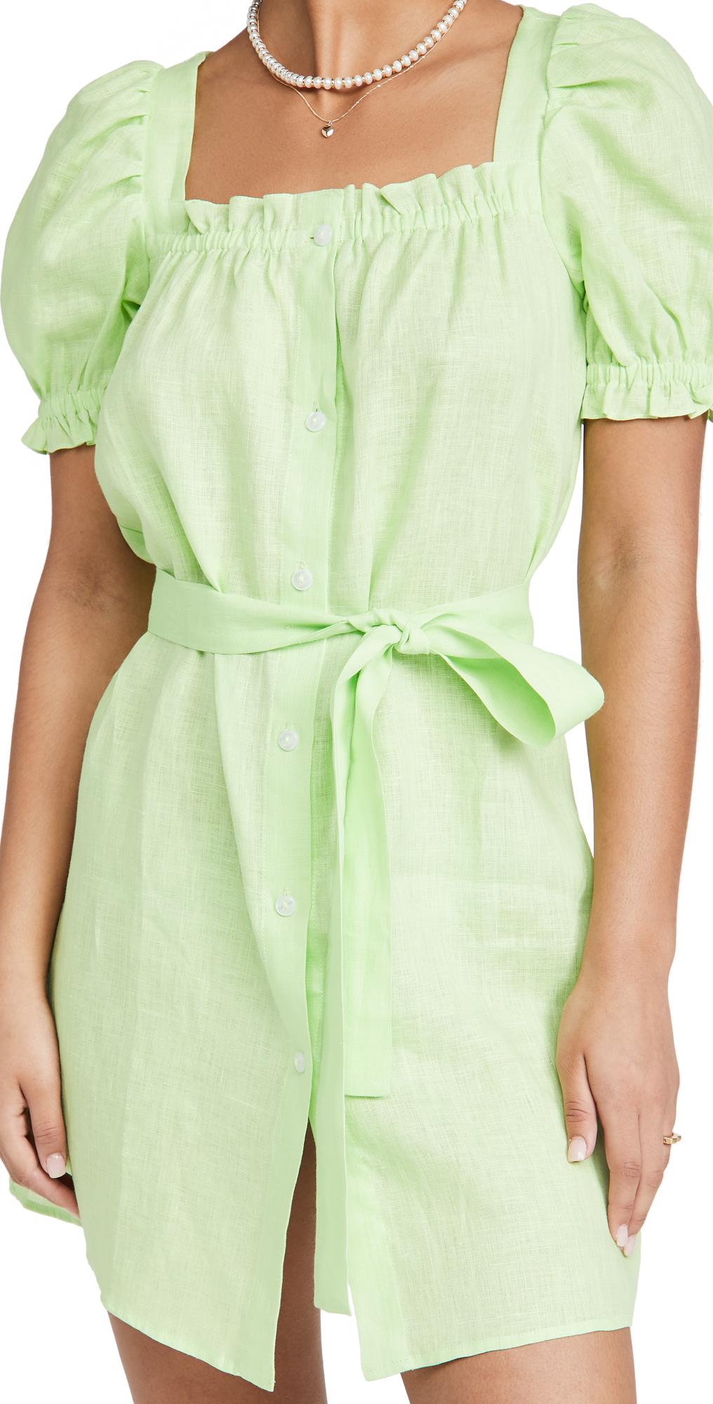 Sleeper Brigitte Linen Mini Dress In Lime