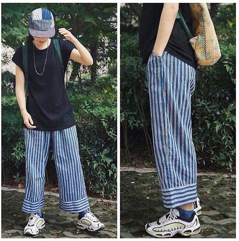 藍條紋 印度手工版印薄棉布 indigo 植物染直筒褲休閒褲 舒適透氣