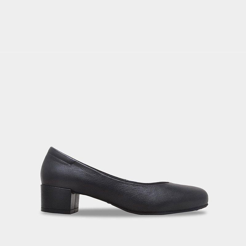 7411 小羊皮黑 橢圓低跟鞋