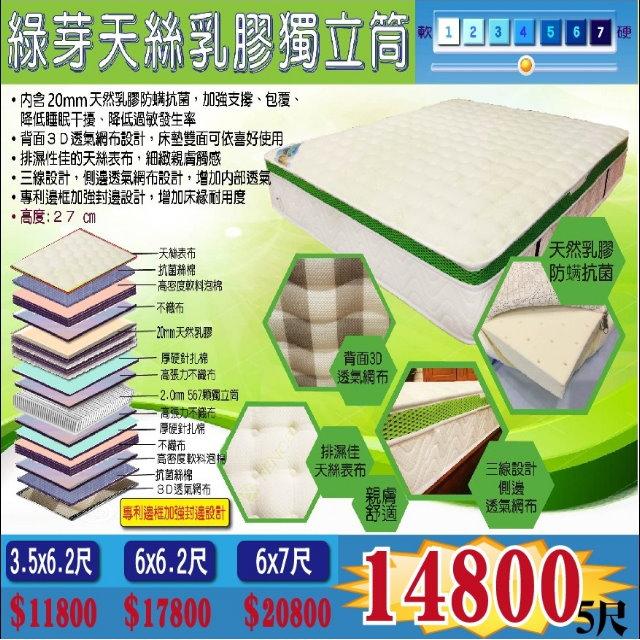 【超優惠】綠芽天絲乳膠高CP獨立筒(人氣床墊)