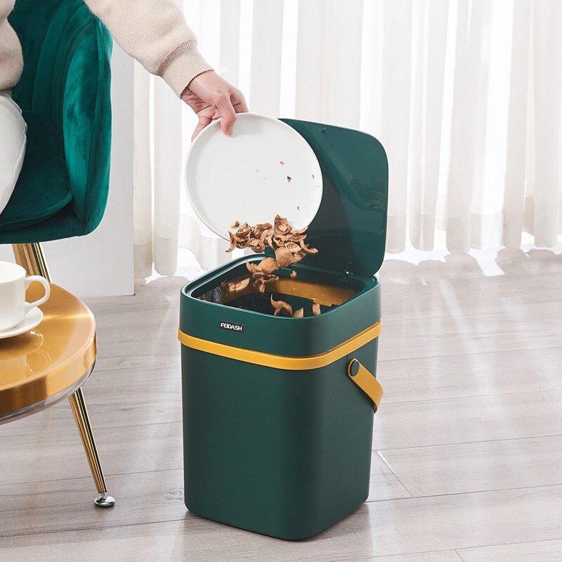 手提垃圾桶 北歐撞色垃圾筒 家用垃圾桶 手提式 帶蓋按壓式 客廳 創意 大號 廚房收納垃圾桶 簡約垃圾桶