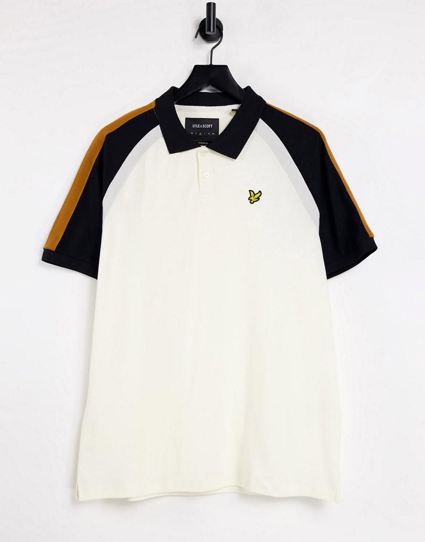Lyle & Scott three colour panel sleeve polo shirt-White
