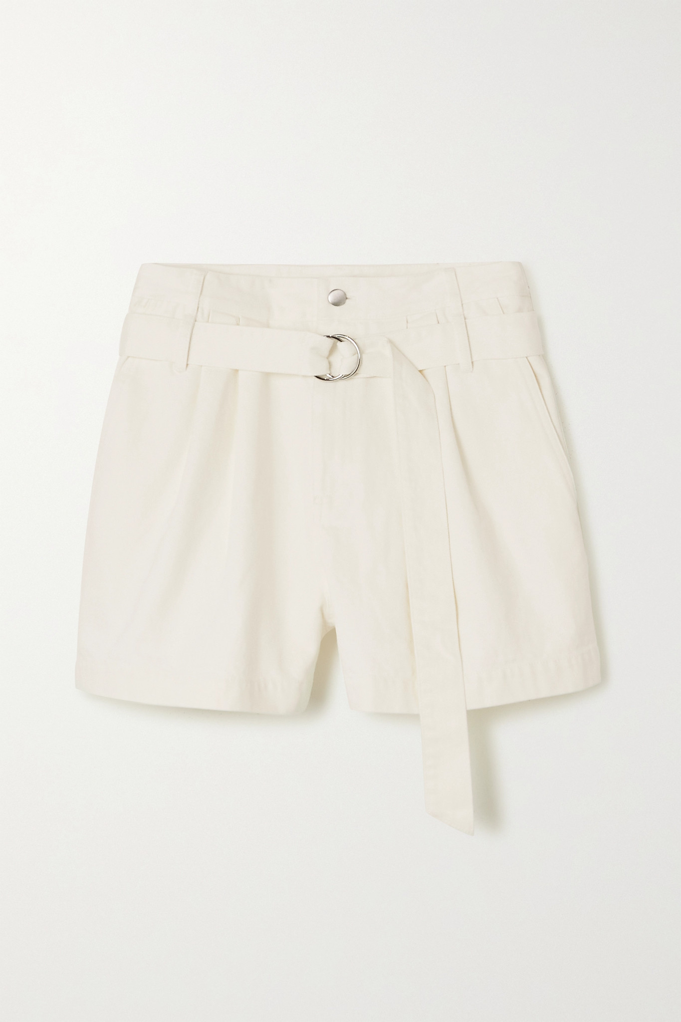 TIBI - Belted Pleated Denim Shorts - White - US4