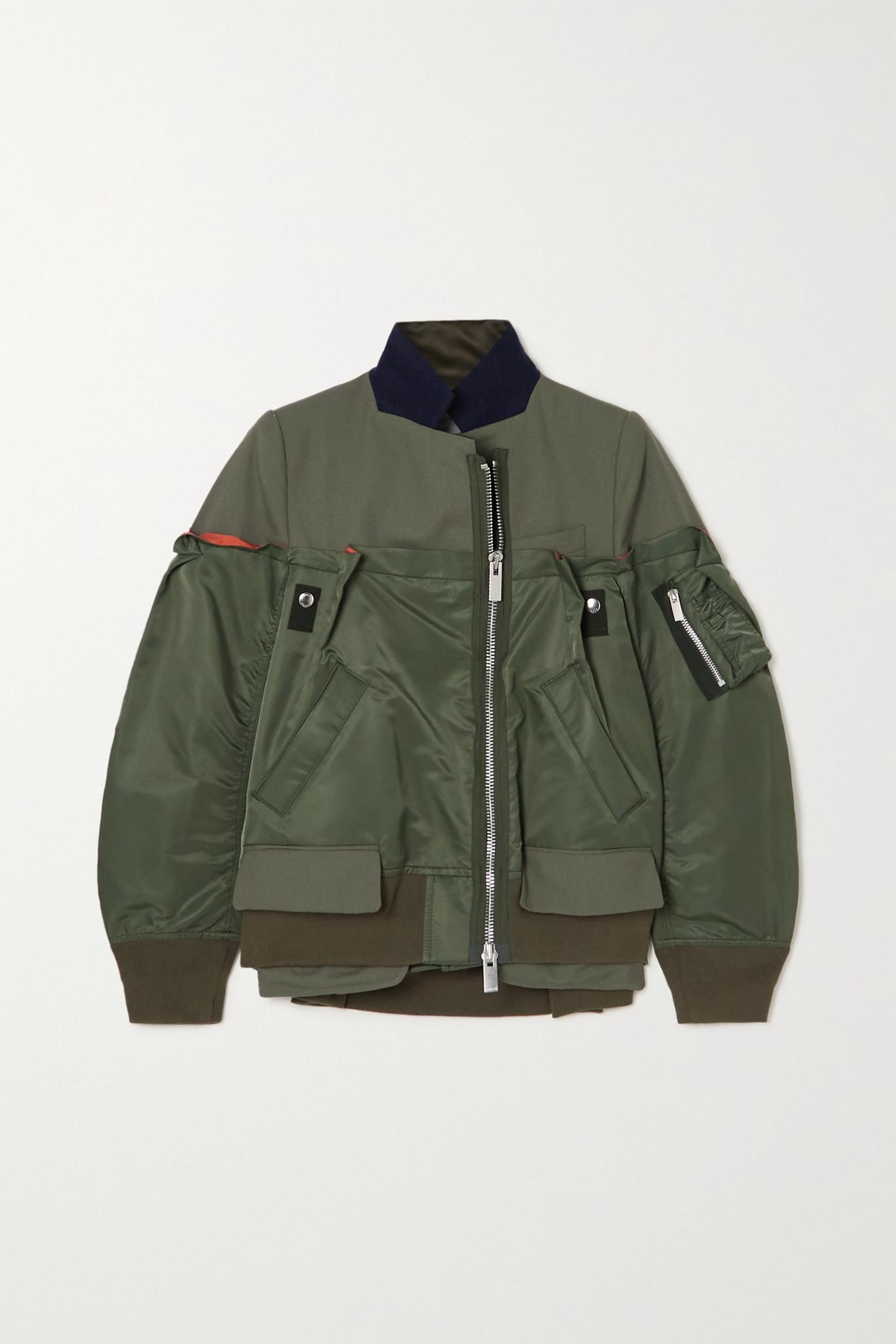 SACAI - Paneled Nylon And Woven Bomber Jacket - Green - 2