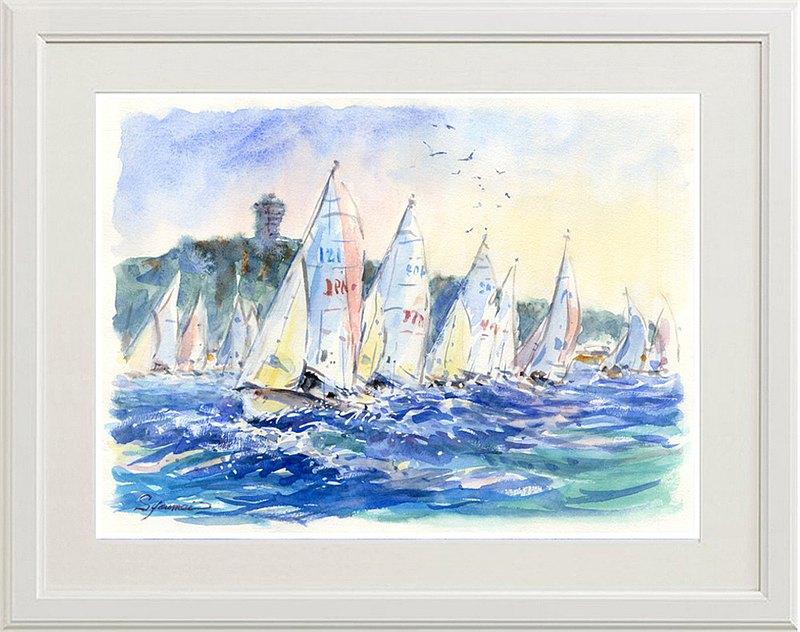 江之島外的原始水彩畫帆船