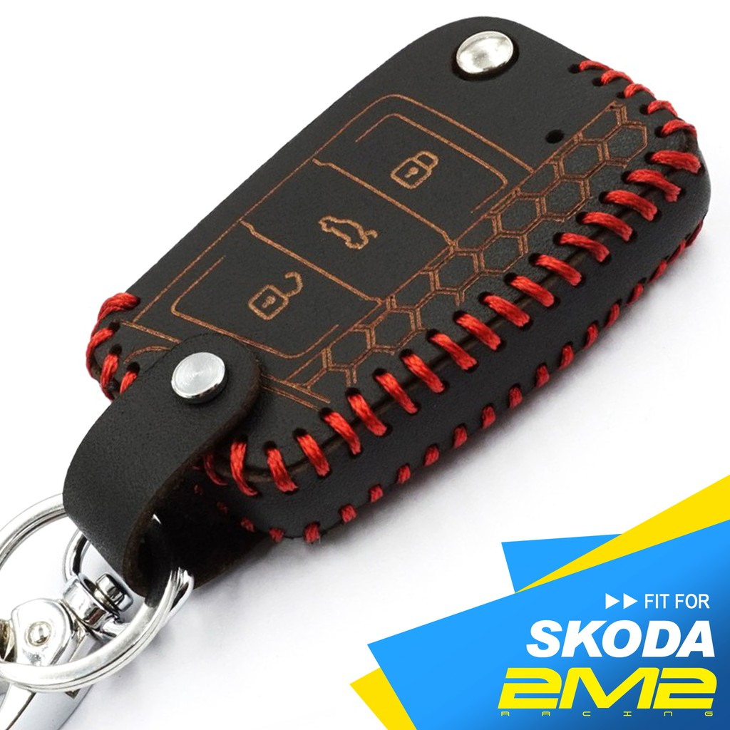 2M2 SKODA Octavia Fabia Yeti Rapid 斯柯達 摺疊 感應鑰匙 手工款皮套 廠商直送
