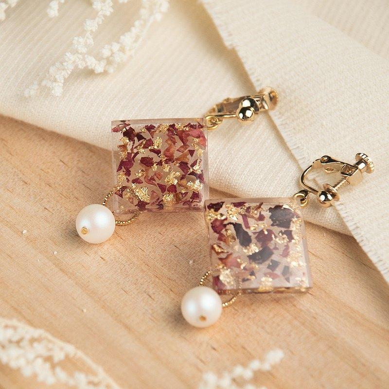 微醺 玫瑰花 施華洛世奇珍珠耳環 方形 14k包金 耳夾 耳勾