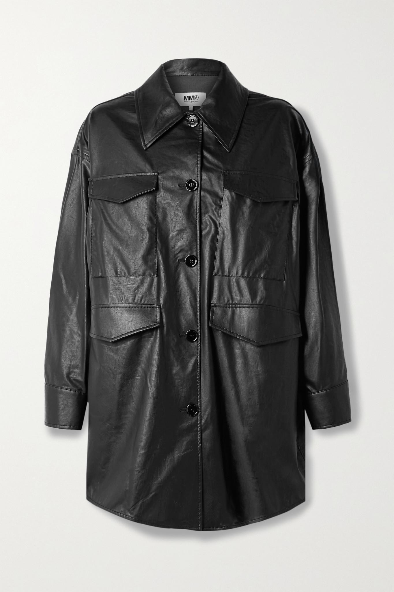 MM6 MAISON MARGIELA - Oversized Faux Leather Jacket - Black - large