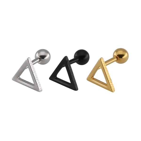 316L醫療鋼 空心三角形 旋轉式耳環-金、銀、黑 防抗過敏 單支販售