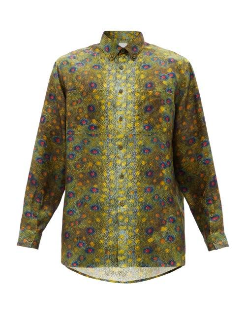 Burberry - Fish Scale-print Silk Shirt - Mens - Green Multi