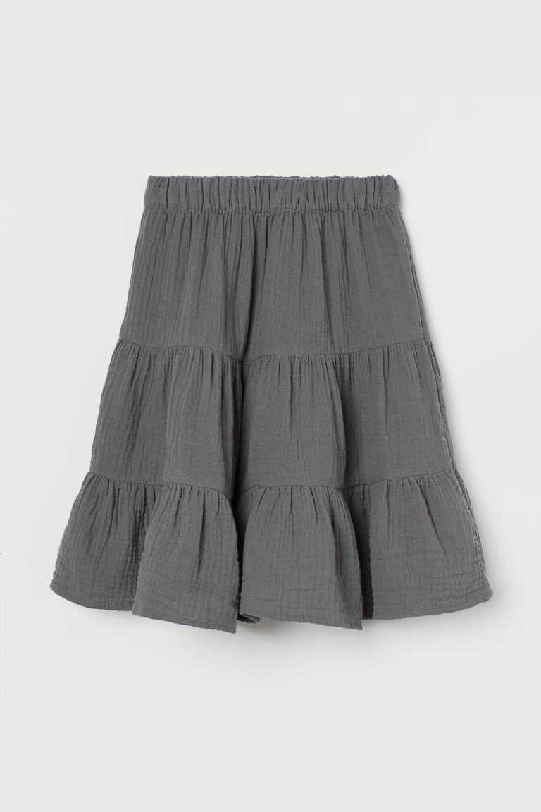 H & M - 二重織傘狀裙 - 灰色