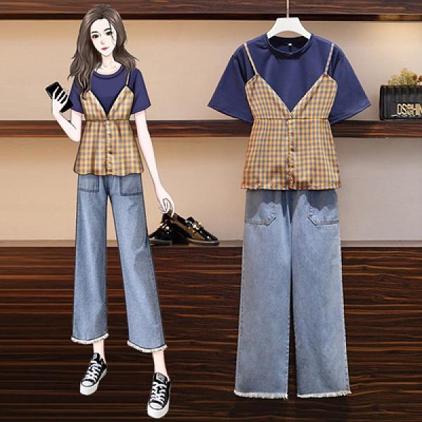 短袖兩件式套裝L-4XL大碼女裝胖mm時尚減齡遮肚顯瘦假兩件短袖牛仔褲兩件套裝4F109韓衣裳