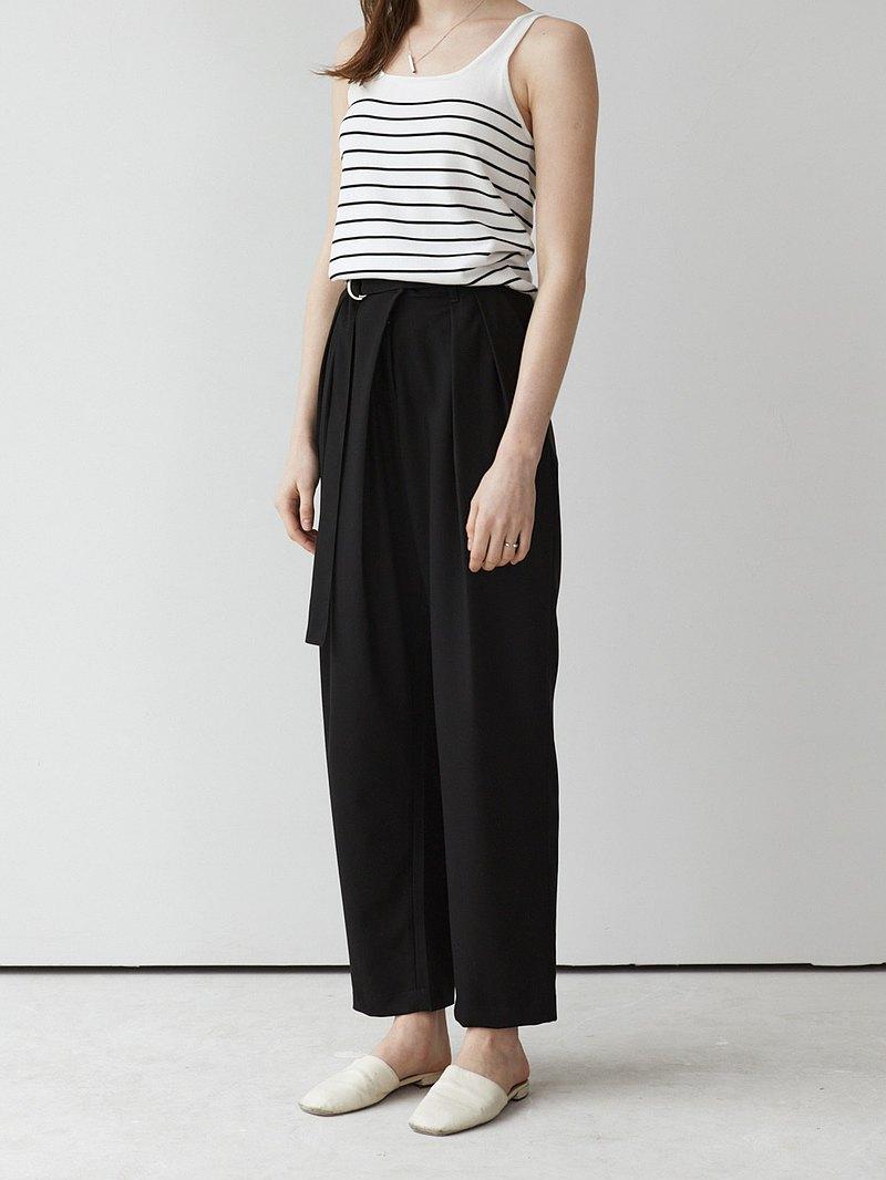 黑色 2色 必入推薦 日本進口面料 斜襟立體褶腰帶闊腿褲 D型腰帶
