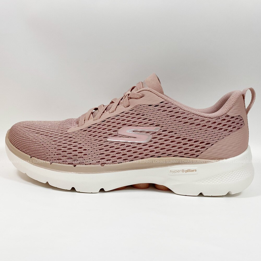SKECHERS 女鞋 GO WALK 6 健走鞋 彈性 輕量 免綁鞋帶 124512MVE玫瑰金 [陽光樂活] (C4)