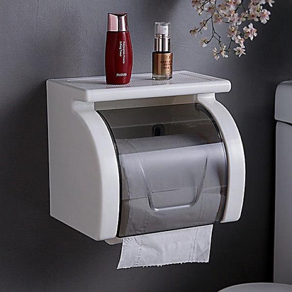 雙慶衛生間紙巾盒吸盤紙巾架防水卷紙盒免打孔廁紙盒廁所卷紙架 快速出貨