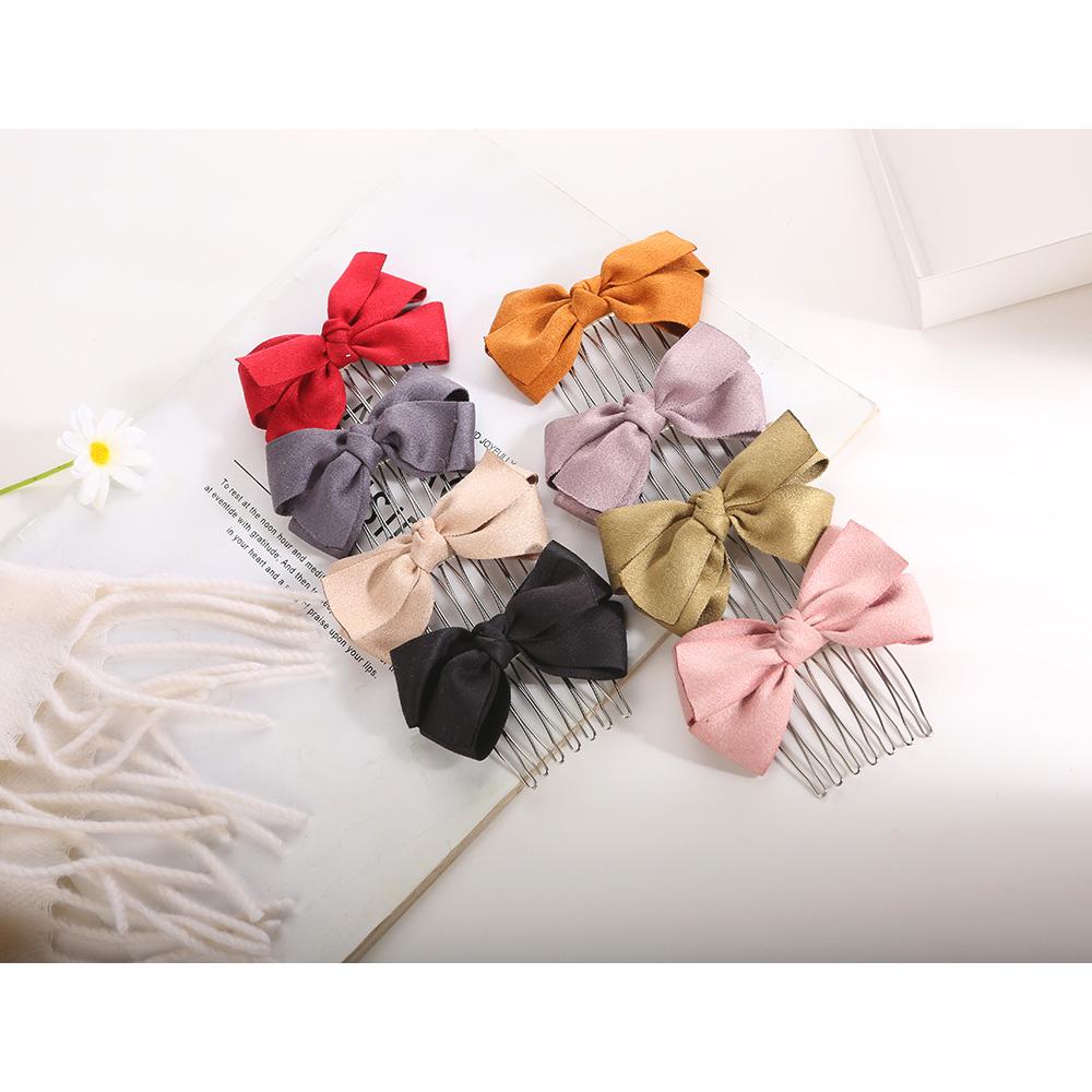[台灣手工商品]簡約素色蝴蝶結絨布短髮叉 8色 CC19123