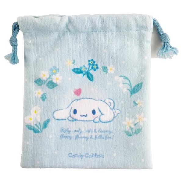 小禮堂 大耳狗 毛巾布束口袋 旅行收納袋 文具袋 小物袋 縮口袋 (藍 花圈) 4550337-65741
