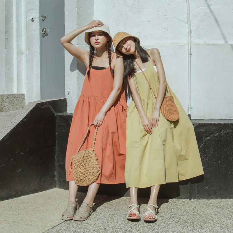 QUEENSHOP_ S 清新棉質細肩帶洋裝 四色售 現+預【01085514】